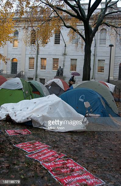 At the Occupy Harvard protest students set up a tent village in the rain on the campus of Harvard University on November 11 2011 in Cambridge...