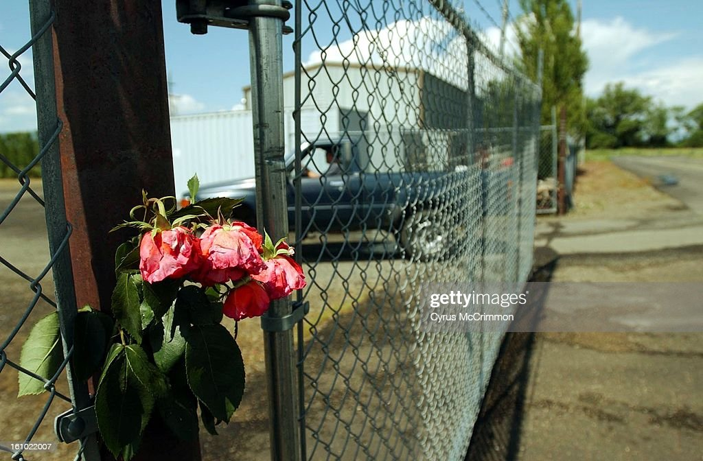 6/23/02 LA GRANDE, OREGON At the offices of the Grayback Forestry Inc. in La Grande, Oregon roses hang from a fence outside the gated offices. The company held a press conference about the van accident in Parachute, Colorado in which 4 firefighters lost t : News Photo