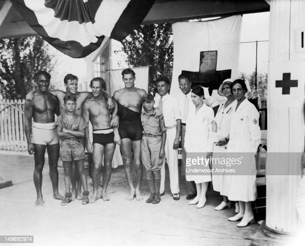 At the Olympic tryouts are from left Duke F Kahanamoku Clarence 'Buster' Crabbe Harold 'Stubby' Kruger Johnny Weissmueler Judge Elmer F Hunsicker...