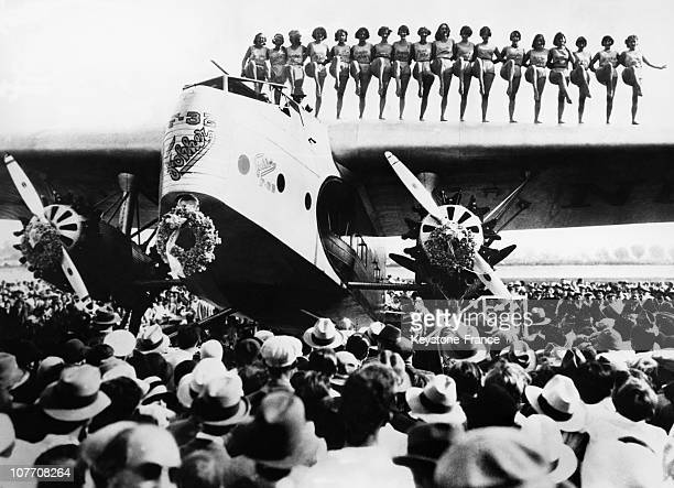 At The Opening Of The Airfield Los Angeles A Troupe Of Dancing Girls On The Wings Of An Airliner Fokker On May 1St 1930