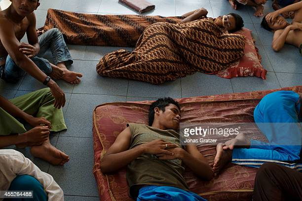 At the orphanage Markaz alIshlah lay sleeping inmate children on the floor Many kids lost their families in the 2004 tsunami disaster and had to grow...