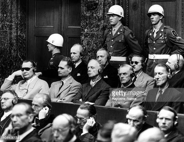At the Palace of Justice in Nuremberg during the final stages of the greatest trial in History the nazis chiefs listen to the summary Front left to...