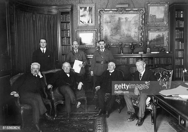 At the Paris Peace Conference of 1919 are Vittorio Orlando David Lloyd George Georges Clemenceau and US President Woodrow Wilson