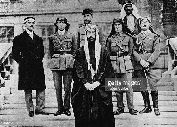 At the Peace Conference in Paris 22nd January 1919 The Emir Faisal king of the Helaz who became King Faisal I of Iraq with General Nuri EsSa'id...