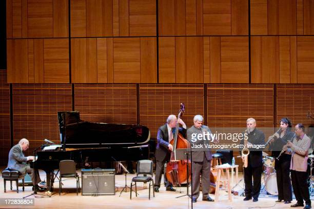 At the piano American jazz producer and promotor George Wein leads 'George Wein and Friends' at Carnegie Hall's 'Just Jazz The Joyce Wein Series'...