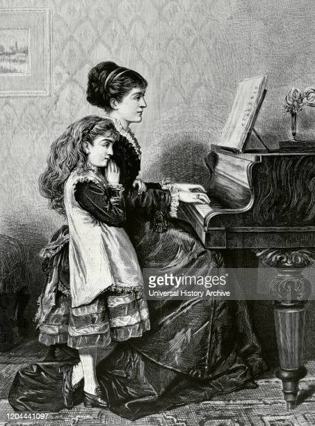 At the Piano. Engraving after a painting by George Goodwin Kilburne . La Ilustracion Espanola y Americana, May 15, 1876.