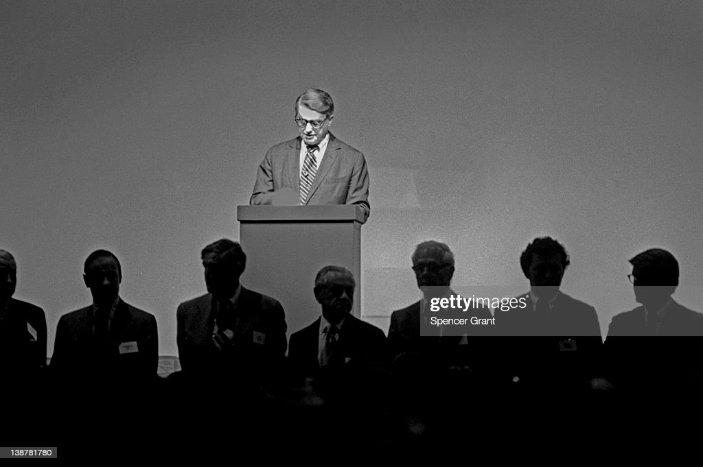 At the Polaroid Corporation annual meeting, President Edwin H. Land introduces his company's board of directors, Boston, Massachusetts, 1977.