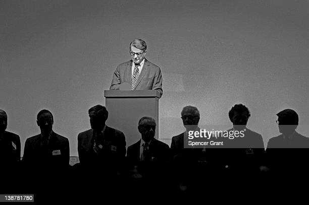 At the Polaroid Corporation annual meeting President Edwin H Land introduces his company's board of directors Boston Massachusetts 1977