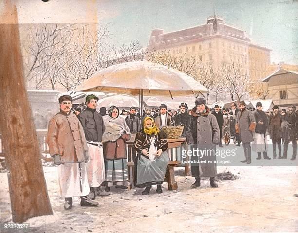 At the poultrymarket Vienna Handcolored lantern slide Around 1910