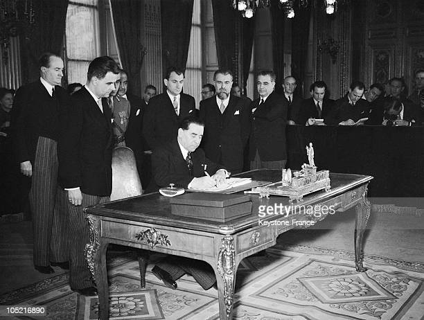 At The Quai D'Orsay On February 10 The Romanian Ambassador To Paris George Tataresco Signs The Peace Treaty Between Romania And The 21 Allied Nations...