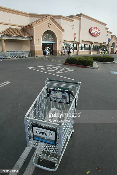 At the Ralphs market on Warner Ave in Huntington Beach the parking lot is almost empty with few shoppers crossing the picket line with the strike in...
