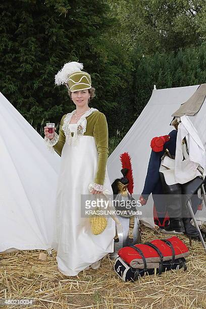 at the reconstitution of the battle of Waterloo Belgium at the french camp cuirassiers on horseback a woman in costume on june 20 2015 in Waterloo...