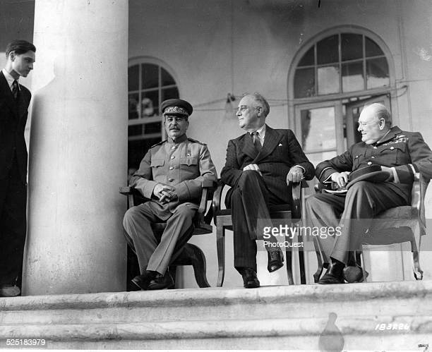 At the Russian Embassy American President Franklin D Roosevelt Russian Marshal Josef Stalin and British Prime Minister Winston Churchill at a...