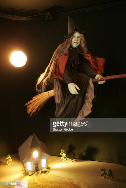 At the Salem Witch Museum wax figures illustrate witches such as this one that displays the common cliched perception of a witch flying on a...