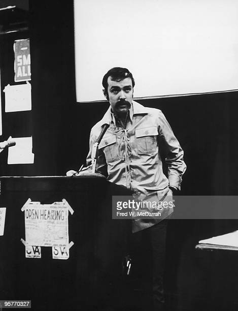 At the School of Visual Arts American art critic Gregory Battcock speaks at an Art Workers' Coalition open hearing New York New York April 10 1969
