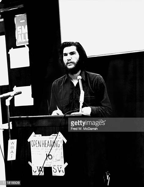 At the School of Visual Arts American artist Dan Graham speaks at an Art Workers' Coalition open hearing New York New York April 10 1969