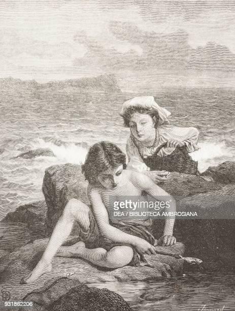 At the seashore engraving from L'Illustrazione Italiana Year 5 No 24 June 16 1878