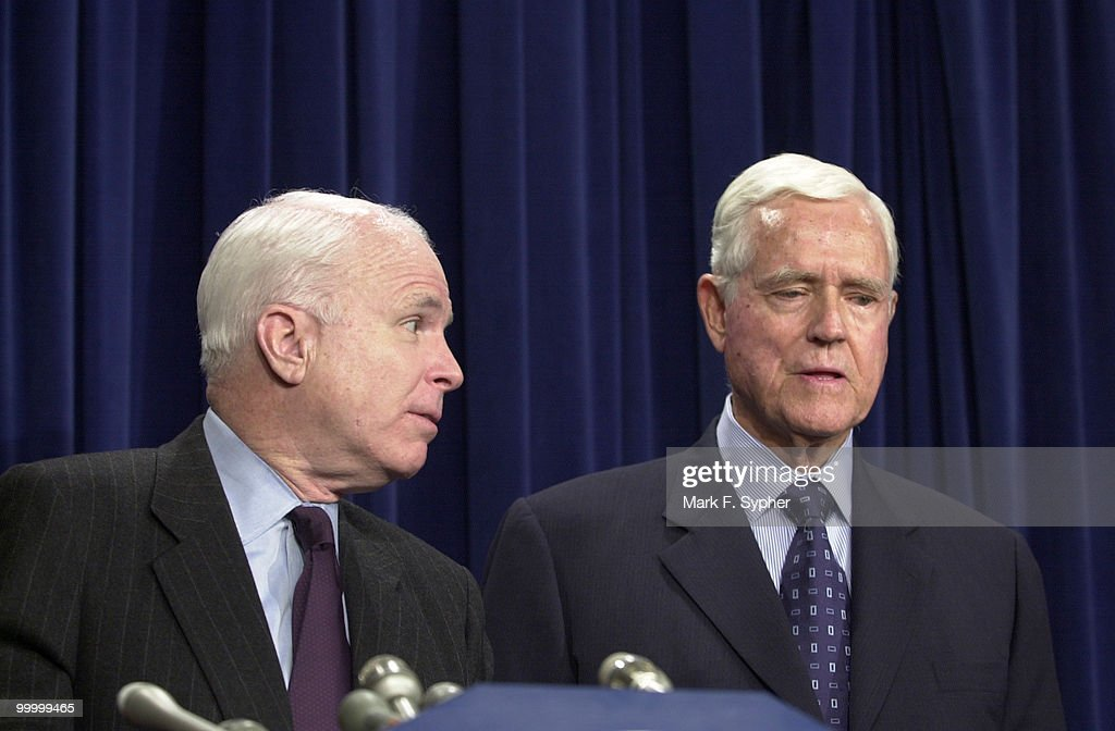 At the Senate Radio and T.V. gallery on Thursday, Senator John McCain (R-AZ) and Senator Ernest F. Hollings (D-SC) encourage the press to keep the government and FCC in check, in the growing war over airspace.