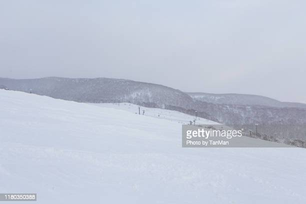 at the slopes. winter in niseko, japan. - スキー板 ストックフォトと画像