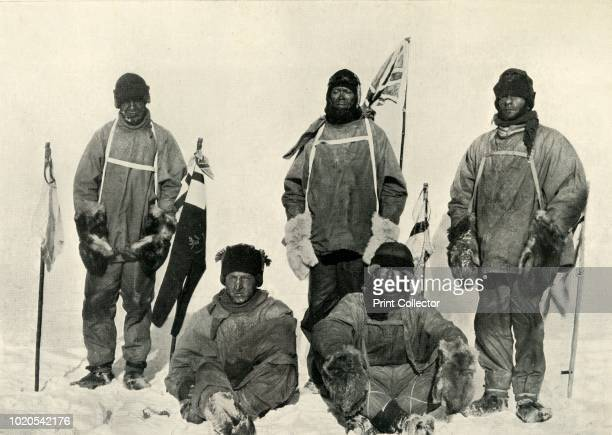 At The South Pole ' January 1912 Left to right Captain Lawrence Oates Captain Robert Falcon Scott Petty Officer Edgar Evans seated left to right...