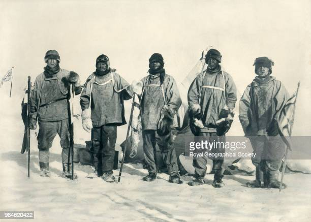At the South Pole Wilson Scott Evans Oates Bowers with Amundsen's tent behind them Antarctica 17th January 1912 British Antarctic Expedition 19101913
