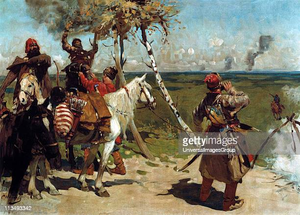 At the Southern Border' 1888 Oil on canvas Sergei Ivanov Russian painter From 16th to 18th centuries Crimean Tartars repeatedly invaded Muscovy...