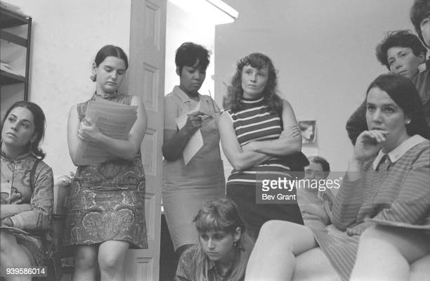 At the Southern Conference Educational Fund office members of the New York Radical Women group attend a meeting to plan a protest at the Miss America...