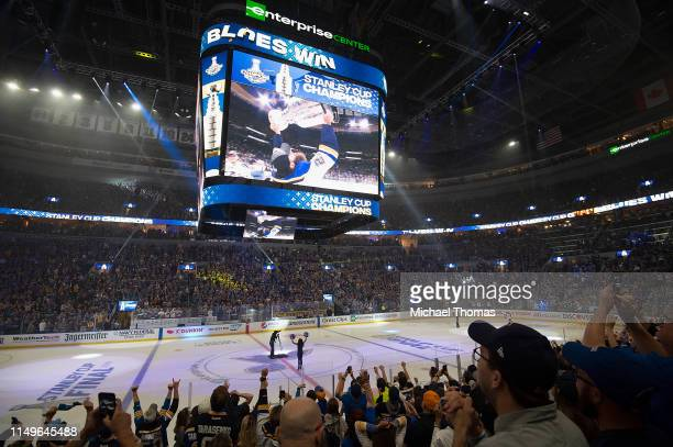 At the Stanley Cup Final Game 7 Watch Party between the Boston Bruins and the St. Louis Blues at the Enterprise Center on June 12, 2019 in St Louis,...