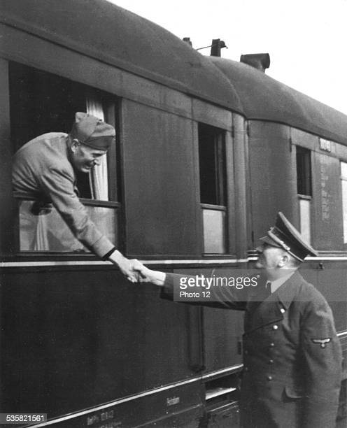 At the station Hitler says goodbye to Mussolini April 22 or 23 Germany Second World War