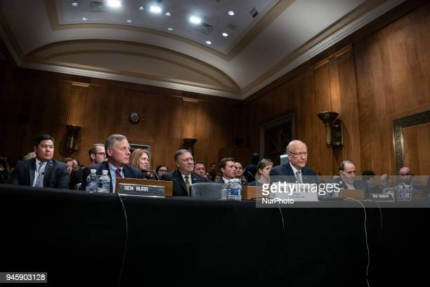 Senator Richard Burr Senator Pat Roberts and former Senate Majority Leader Bob Dole introduce Michael Pompeo director of the Central Intelligence...