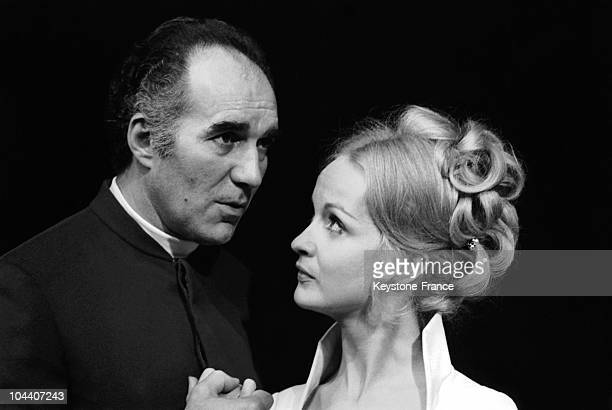 At the Theatre de la Ville de Paris the French actors Michel PICCOLI and Daniele LEBRUN acting out a scene from MOLIERE's play LE MISANTHROPE on...