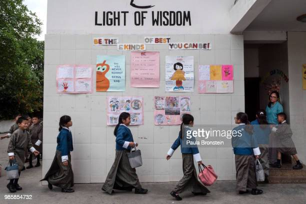 At the Thimphu Primary private school english signs are seen on the walls to promote the spirit of education as students head to class on June 12, in...