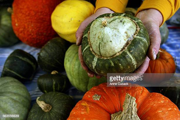 At the Thogmartin Farm stand Holding a buttercup squash with several other varieties of squash and pumpkins behin such as Queensland Blue The yellow...
