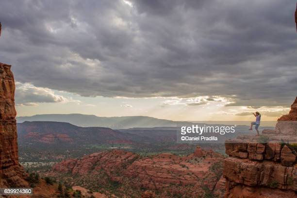At the top of cathedral rock, arizona