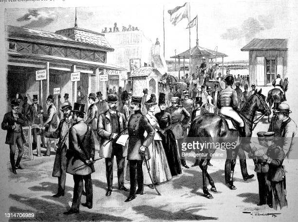 At the totalizer on the Charlottenburg racecourse, Germany, betting offices at the racecourse, 1887 / Am Totalisator auf dem Rennplatz von...