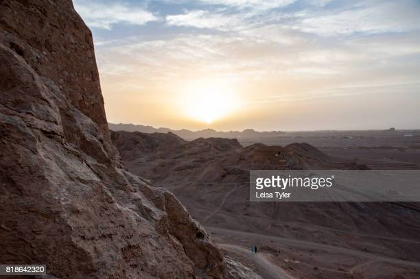 At the Towers of Silence traditional Zoroastrian burial circles where bodies were left to be eaten by scavenger birds outside of Yazd Iran Yazd was a...