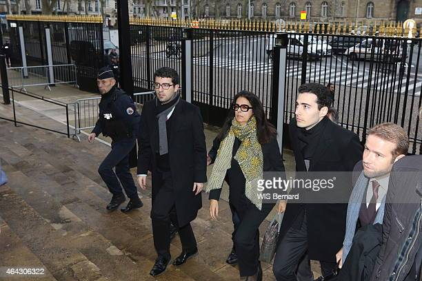 at the trial for abuse of weakness against billionaire Liliane Bettencourt Francoise BettancourtMeyers with his sons Nicolas and JeanVictor and her...