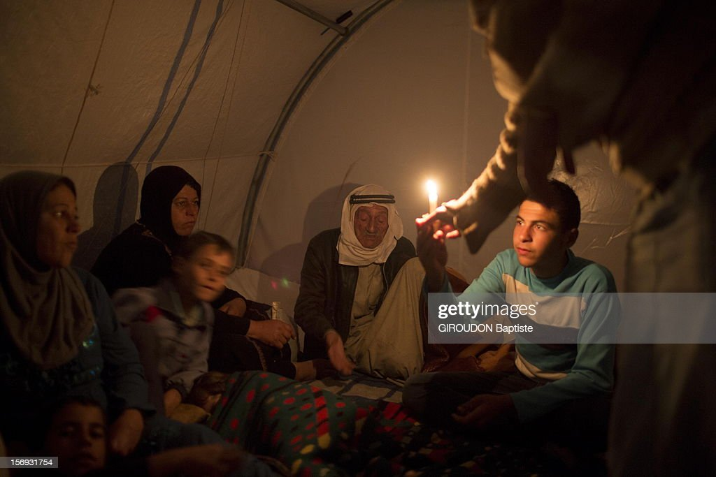 Displaced Syrian Refugees Escape Conflict At Camp In Atmeh : News Photo