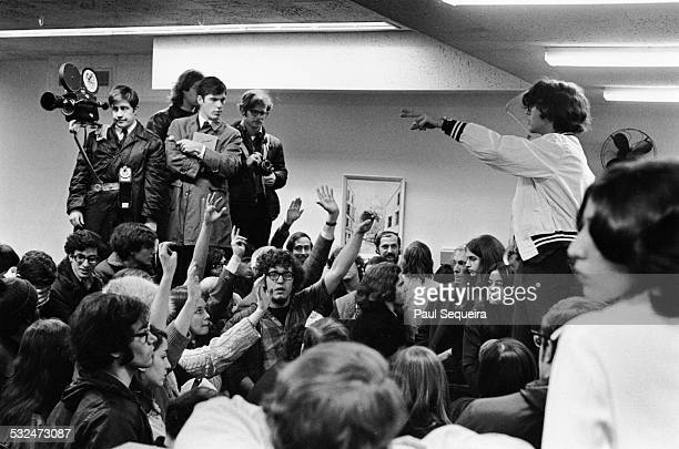 At the University of Chicago, student protesters vote on allowing press access to the administration building that they occupied, Hyde Park, Chicago,...