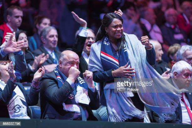 at the victory of Lucas Pouille of the Davis Cup Bernard Giudicelli president fft and laura Fessel Sport Minister are photographed for Paris Match on...
