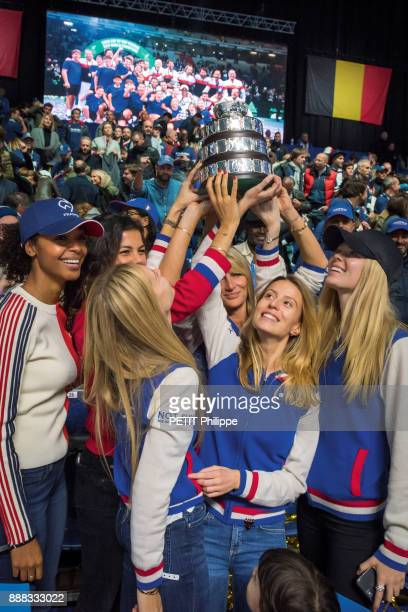 at the victory of Lucas Pouille of the Davis Cup Noura Tsonga Isabelle Noah and Clemence Pouille are photographed for Paris Match on november 26 2017...