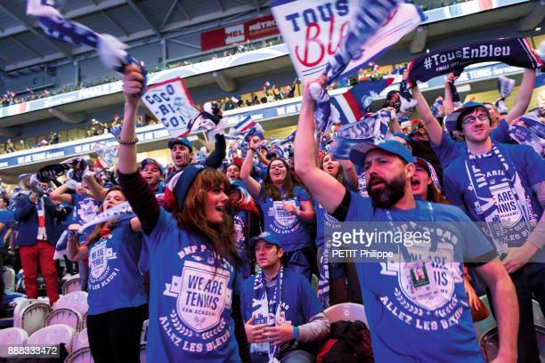 at the victory of Lucas Pouille of the Davis Cup the supporters of the french team are photographed for Paris Match on november 26 2017 in Lille...