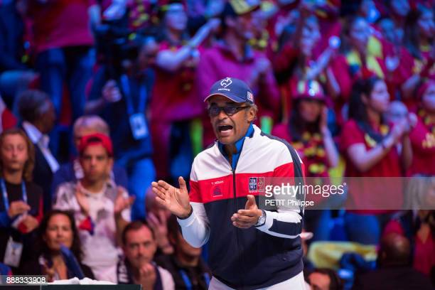 at the victory of Lucas Pouille of the Davis Cup Yannick Noah is photographed for Paris Match on november 26 2017 in Lille France
