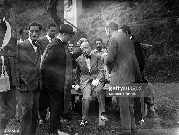 At the Vittoriale Gabriele D'Annunzio Italian poet and writer taking part in the rehearsal of the tragedy 'La figlia di Iorio' Gardone Riviera 5th...