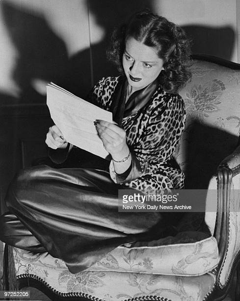 At the Waldorf Astoria actress Arleen Whelan reads over her script for a radio broadcast
