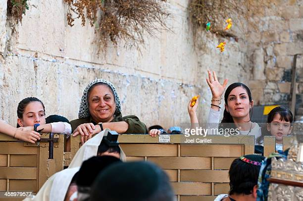 throwing candy at bar mitzvah by western wall - israeli ethnicity stock pictures, royalty-free photos & images