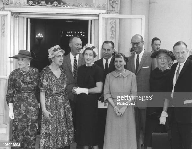 At the White House US First Lady Mamie Eisenhower hosts a gathering of presidential offspring Washington DC April 30 1959 Pictured are from left...