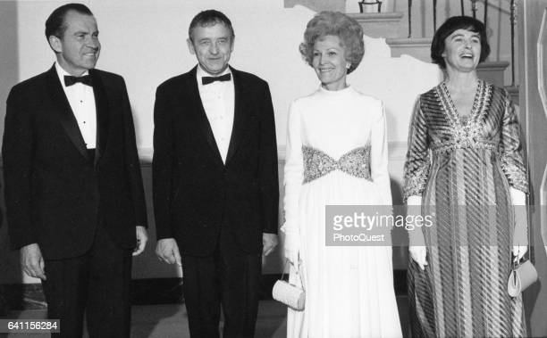 At the White House US President Richard M Nixon honors painter Andrew Wyeth as their wives First Lady Pat Nixon and Betsy Wyeth pose with them...