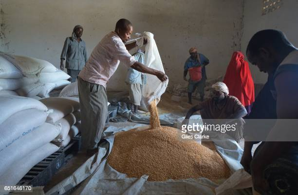 At the World Food Program distribution warehouse in Wajid Central Somalia Women are given an allowance of maize and rice along with cooking oil to...