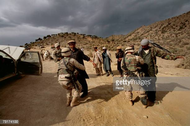At this checkpoint of the Pashtun tribal zone of Waziristan identity checks and palpations are improvised on July 2004 in Afghanistan